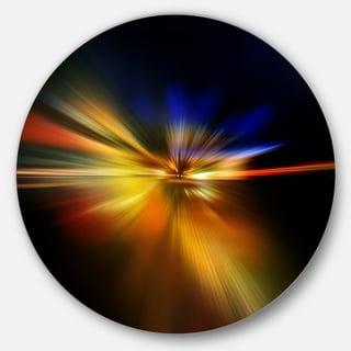 Designart 'Explosion of Light in Black' Abstract Digital Art Circle Wall Art