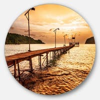Designart 'Sunset Over Brown Sea' Seascape Photo Large Disc Metal Wall art