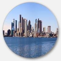 Designart 'Boston Skyline Panorama' Cityscape Photo Round Metal Wall Art