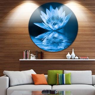 Designart 'Blue Water Lily' Floral Digital Art Round Wall Art