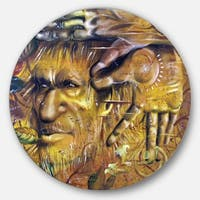 Designart 'Sylvan' Portrait Digital Art Large Disc Metal Wall art