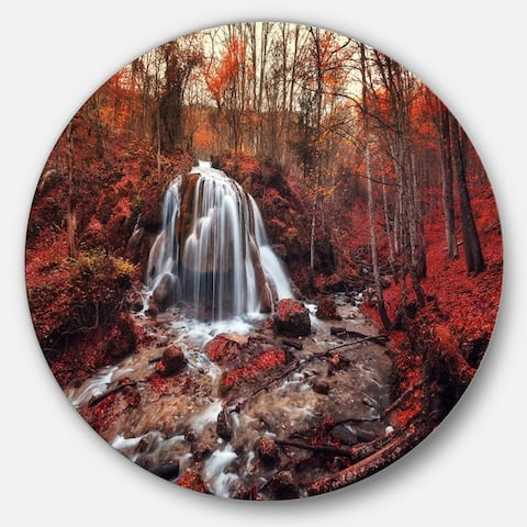 Designart 'Silver Stream Waterfall Close-up' Landscape Photo Round Metal Wall Art