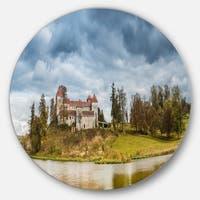 Designart 'Castle by the Lake' Landscape Photo Large Disc Metal Wall art