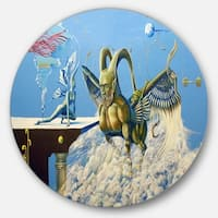 Designart 'Cherubim' Portrait Digital Art Round Wall Art