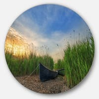 Designart 'Old Fisher Boat Near Lake' Landscape Photo Disc Metal Wall Art