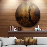 Designart 'Unexpected Death' Abstract Digital Art Large Disc Metal Wall art