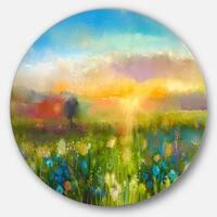 Designart 'Sunset Meadow Landscape' Oil Painting Disc Metal Wall Art