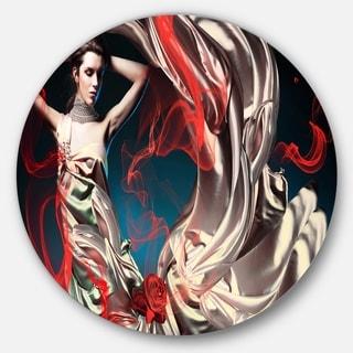 Designart 'Woman in Long Fairy Dress' Abstract Portrait Circle Wall Art