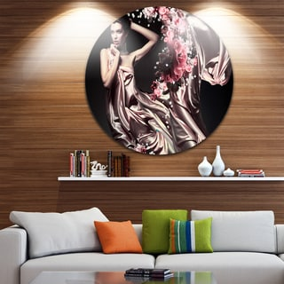 Designart 'Woman in Fabric and Flowers' Portrait Round Metal Wall Art