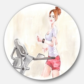 Designart 'Pretty Workout with Fitness Watch' Digital Art Disc Metal Artwork