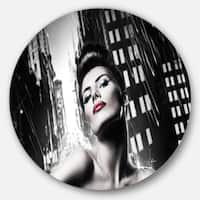 Designart 'Brunette Woman with Red Lips' Portrait Woman Large Disc Metal Wall art