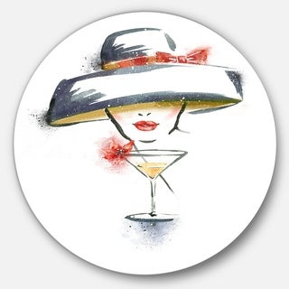 Designart 'Woman with Hat and Cocktail' Watercolor Portrait Circle Wall Art