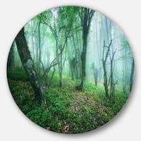 Designart 'Trail Through Green Forest' Landscape Photo Circle Wall Art