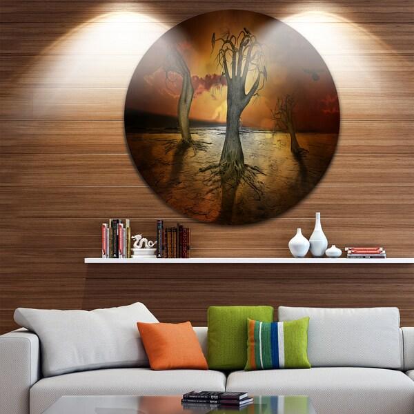 Designart 'Storage Trees' Abstract Digital Art Round Metal Wall Art