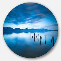 Designart 'Blue Lake with Wooden Pier' Landscape Photo Large Disc Metal Wall art