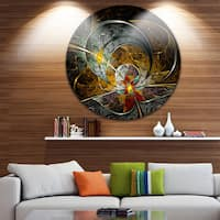 Designart 'Symmetrical Yellow Digital Art Flower' Floral Art Round Metal Wall Art