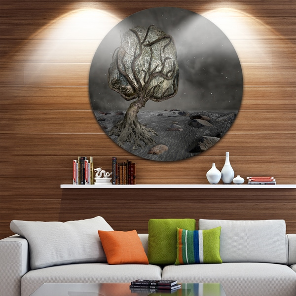 Designart 'Burden of Life' Abstract Digital Art Large Disc Metal Wall art