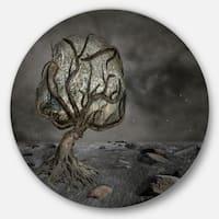 Designart 'Burden of Life' Abstract Digital Art Large Disc Metal Wall art