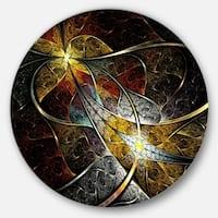 Designart 'Symmetrical Fractal Flower' Floral Digital Art Round Metal Wall Art