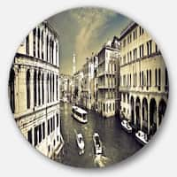 Designart 'Venice Cityscape' Photography Large Disc Metal Wall art