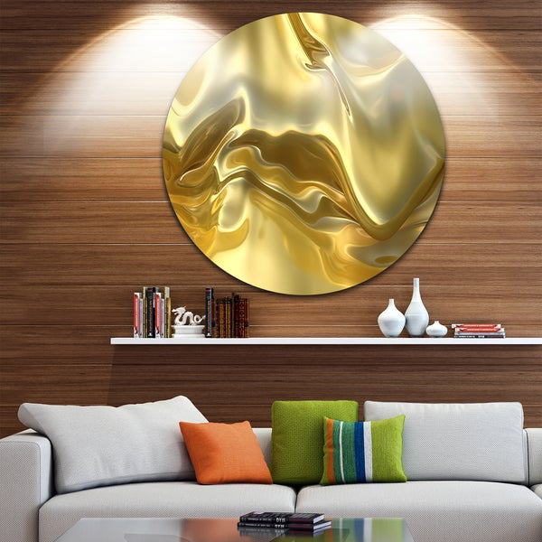 Designart \'Golden Cloth Texture\' Abstract Digital Art Large Circle ...