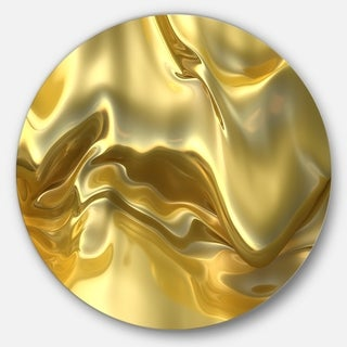 Designart 'Golden Cloth Texture' Abstract Digital Art Large Circle Metal Wall art