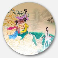 Designart 'Classical Chinese Painting' Abstract Large Disc Metal Wall art