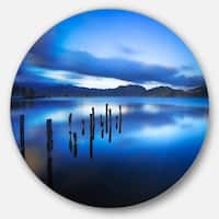 Designart 'Blue Lake Sunset with Pier' Landscape Photo Disc Metal Wall Art