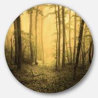 Designart 'Trail Through Yellow Foggy Forest' Landscape Photo Large Disc Metal Wall art