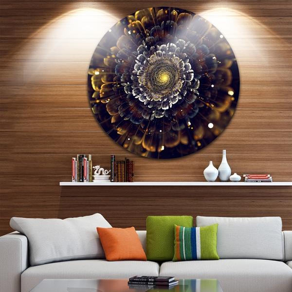 Designart 'Yellow Fractal Flowers with Violet' Digital Art Disc Metal Wall Art
