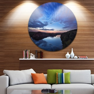 Designart 'Clouds Reflection in River' Landscape Photo Round Wall Art