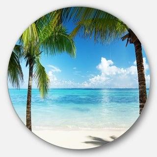 Designart 'Palm Trees and Sea' Landscape Photo Disc Metal Wall Art