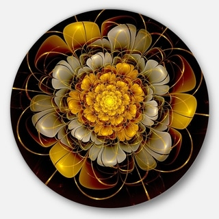 Designart 'Dark Gold Fractal Flower' Digital Art Disc Metal Artwork