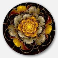 Designart 'Dark Gold Fractal Flower' Digital Art Disc Metal Artwork