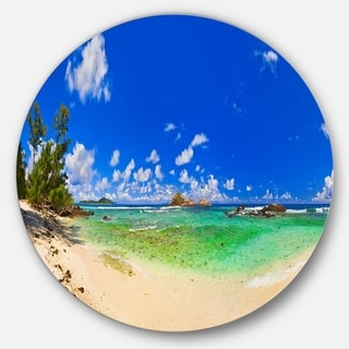 Designart 'Tropical Beach with Green Sea' Landscape Photo Round Metal Wall Art