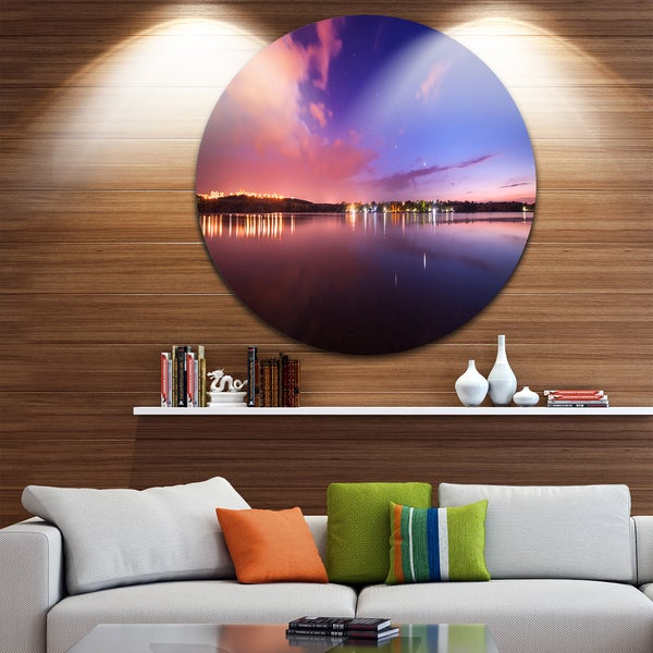 Designart 'Night Sky Reflection in River' Landscape Photo Disc Metal Wall Art