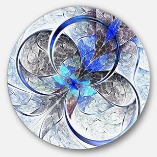 Designart 'Symmetrical Blue Fractal Flower' Digital Art Round Metal Wall Art