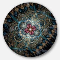 Designart 'Dark Purple Fractal Flower' Digital Art Floral Round Wall Art