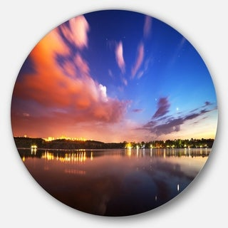 Designart 'Delighted Reflection in River' Landscape Photo Circle Wall Art