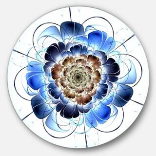 Designart 'Dark Blue Fractal Flower' Digital Art Floral Disc Metal Wall Art