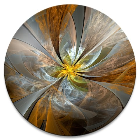 Designart 'Symmetrical Yellow Fractal Flower' Digital Art Circle Metal Artwork