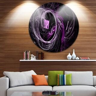 Designart 'Billowing Smoke Purple in Black' Abstract Digital Art Circle Wall Art