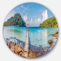 Designart 'Pier to the Island Panorama' Landscape Photo Circle Wall Art