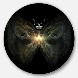 Designart 'Yellow Fractal Butterfly in Dark' Digital Art Round Wall Art