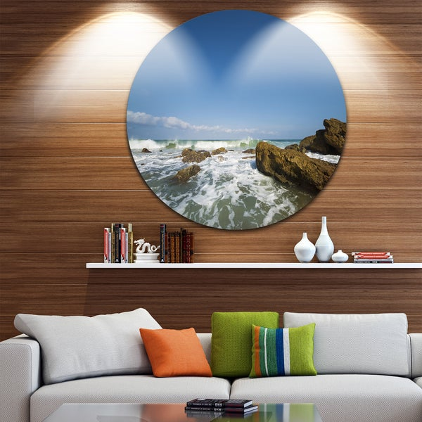 Designart 'Sea with White Waves' Seascape Photo Circle Wall Art