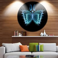 Designart 'Blue Fractal Butterfly in Dark' Abstract Art Disc Metal Wall Art
