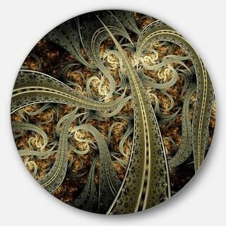 Designart 'Metallic Fabric Pattern' Digital Art Round Metal Wall Art