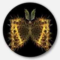 Designart 'Golden Fractal Butterfly in Dark' Abstract Art Disc Metal Artwork