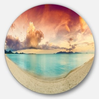 Designart 'Tropical Colorful Sunset with Pond' Landscape Disc Metal Wall Art