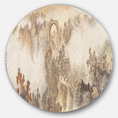 Designart 'Nature in Vintage Style' Landscape Photo Round Wall Art